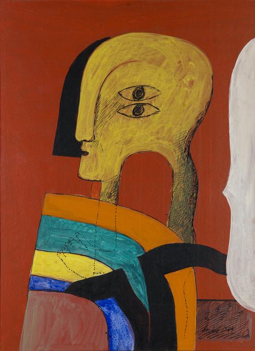 Horst Antes: Figur auf rotem Grund (1964)