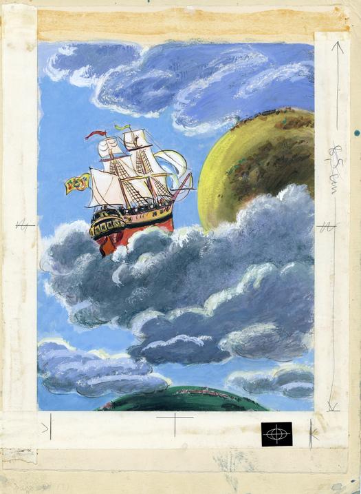 """Walter Trier: """"Münchhausen: Die zweite Mondreise"""", Internationale Jugendbibliothek PS 5318, ©Atrium Verlag AG , Zürich 2001 (ISBN 978-3-7891-4022-8)"""